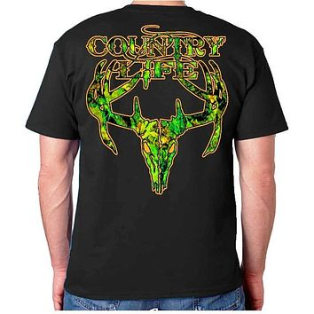 Sale Country Life Outfitters Black & Orange Camo Realtree Deer Skull Head Hunt Vintage Unisex Bright T Shirt