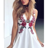 For Your Love White Red Green Rose Floral Sleeveless Plunge V Neck Skater Circle A Line Flare Mini Dress