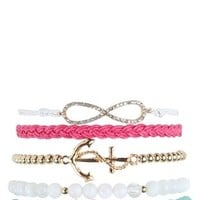 Set of 5 Friendship Bracelets with Infinity, Anchor and Love