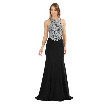 Black Mermaid Long Prom Dress with Lace Appliques