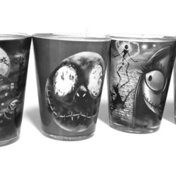 Set of 4 Nightmare Before Christmas Soy Candles - Set of Shot Glass Candles - CHOICE OF SCENT