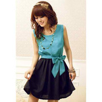 Sky Blue Bow Tie Pleated Chiffon Mini Dress