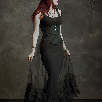 Felene Side Bustle Skirt in Tulle and Ruffled Lace - Custom Elegant Gothic Clothing and Dark Romantic Couture
