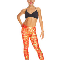 Womens Watermelon Performance Capri Leggings