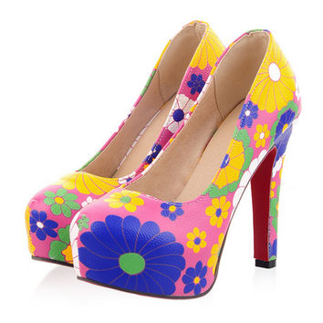 Dyed Cloth Face Super High Heel Platform Thin Shoes  pink  35