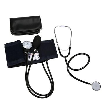 Blood Pressure Aneroid Sphygmomanometer Cuff Kit Upper Arm Blood Pressure Stethoscope With Zipper Bag for Adult health care