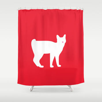 Cat Silhouettes: Japanese Bob Tail Shower Curtain by CAPow!