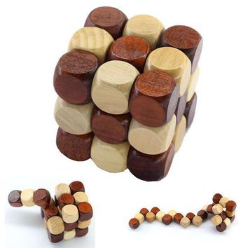 ICIK272 3D Wooden Puzzle Novelty Toys Magic Cube Educational Brain Teaser IQ Mind Game For Children Adult Snake Shape