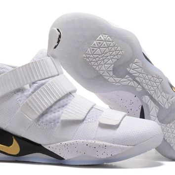 6d25e2d6587 Nike LeBron Soldier 11 EP White Gold Basketball Shoes US7-12