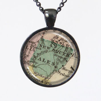 Vintage Map Necklace -New South Wales, Australia -Vintage Map Series