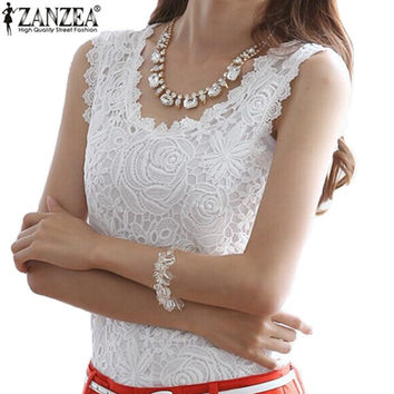 Hot Sale 2015 Vestidos New Summer Fashion Womens Casual Sleeveless O-Neck Lace Floral Top Vest Slim Fit Plus Size 2 Colors