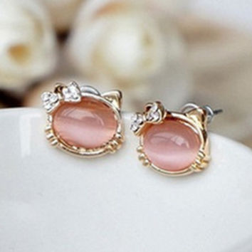 Hello Kitty Jewelry With Crystal Bowknot Opal Cute Cat Stud Earrings female Cat RG E111