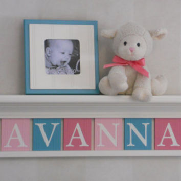 "Pink and Teal Shelves Custom for SAVANNAH 30"" Linen (Off White) Shelf 8 Nameplates Personalized Baby Nursery Wall Decor, Unique Shower Gift"