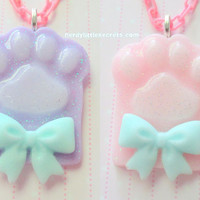 Pastel Kitten Cat Paw Fairy Kei Necklace