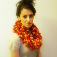 Knitted Cowl Scarf, Fluffy Multi Color Orange, Purple, Pink,Yellow Wool Blend, Soft Neck Warmer