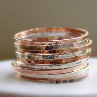Sterling Silver & Rose Gold Stackable Rings by SecretCharm on Etsy