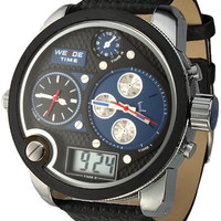 Multiple Time Zone Round Shape Metal Faux Leather Wrist Watch