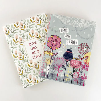Bullet journal set of 2 quote journals | One Day At A Time & Tend Your Garden Mindfulness gift Bujo Writing journal Floral notebook Dot grid