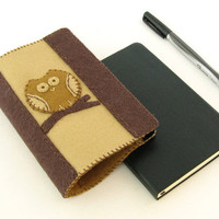 Tan & Brown Owl Moleskine Notebook Cover - 100% Wool Felt - Refillable - Fits Moleskine Classic 3.5 x 5.5 inch Pocket Notebooks - Cover Only