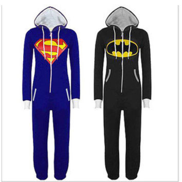 2016 Unisex Pyjamas Superhero Adult Onesuits Mens Women Superman Cosplay Costume Batman Hooded Pajamas Sleepwear Onesuits