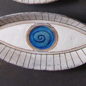 decorative plate Evil Eye blue and gray large Ceramic decorative plate