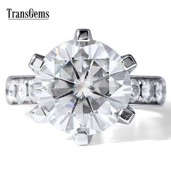 TransGems 7 Carat DEF Color Lab Grown Moissanite Diamond Wedding Ring with Lab D