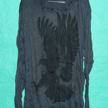 Shirt Hoodie Hawk spread wings Bird Hood shirt tentacles Color Dark grey Long sleeve Wrinkled Tshirt for Unisex,women,men Style Country