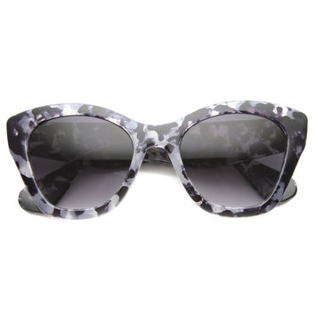 Women's Block Tortoise Thick Frame Cat Eye Sunglasses 9856