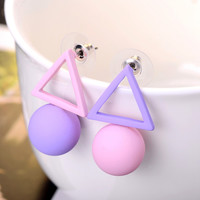 Aiffry Triangle Different Candy Color Earrings For Women  Fashion Stud Earrings From Korean Earings Jewelry