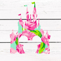 Lilly Pulitzer Disney Cinderella Castle Vinyl Decal For Yeti Tumblers, Cars, and Tech Devices