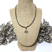 3 silver feather charm black leather cord choker necklace, feather choker necklace, silver feather choker necklace, gift