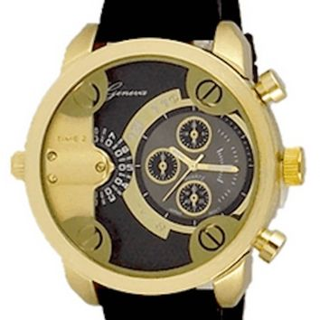 Gold Black Mens Geneva Watch Dual Time (Little Daddy Style) W/ Diesel Cologne