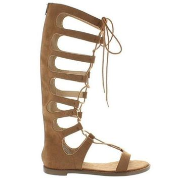 Chinese Laundry Galactic   Coco Brown Micro Suede Tall Gladiator Sandal