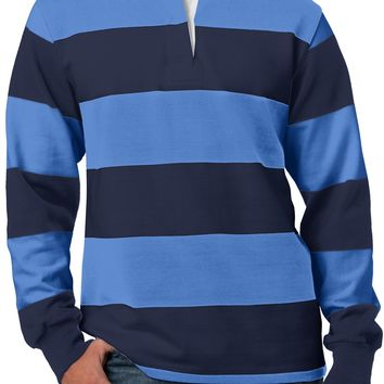 Mens Long Sleeve Rugby Polo Shirt, True Navy/Carolina Blue