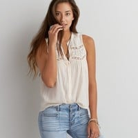 AEO SLEEVELESS MESH BUTTON DOWN SHIRT