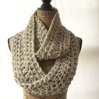 Ready To Ship Oatmeal Tweed Brown Black Cream Chunky Scarf Fall Winter Women's Accessory Infinity Wool Blend