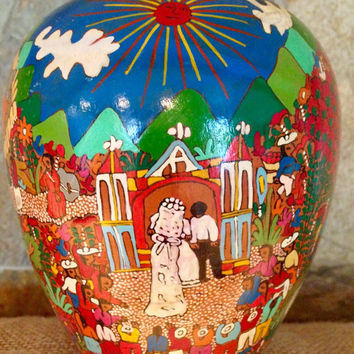 Hand painted Mexican vase