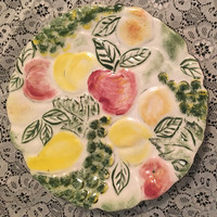 Majolica Fruit Plate from a Jewish Home in Atlanta Georgia, Apples Pears and Grapes, 9 inch Fruit Plate, Scalloped Edges, Hand painted plate