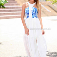 SHOW ME LOVE MAXI , DRESSES, TOPS, BOTTOMS, JACKETS & JUMPERS, ACCESSORIES, 50% OFF SALE, PRE ORDER, NEW ARRIVALS, PLAYSUIT, COLOUR, GIFT VOUCHER,,Blue,Print,CUT OUT,SLEEVELESS Australia, Queensland, Brisbane