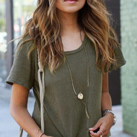 Army Green Causal T-Shirt B008094