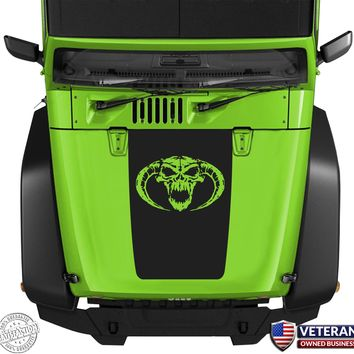 Demon Skull Evil Hood Blackout Vinyl Decal Sticker fits: Jeep Wrangler JK TJ YJ