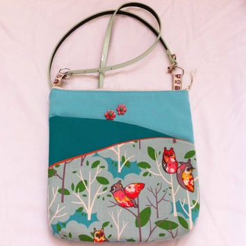 Aqua Owls Handmade Pocket Shoulder Bag