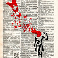 Banksy suicide woman and butterflies, street art vintage dictionary page art print