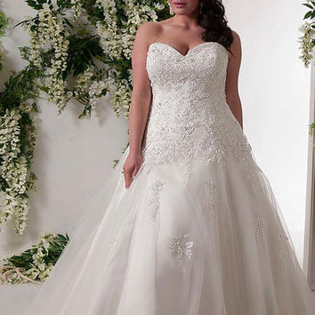 Luxurious Corset Plus Size Mermaid Wedding Dress 2017 Sweetheart Tulle Applique Bridal Gown Vestidos de Novia
