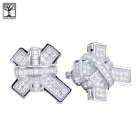Jewelry Kay style Men's Fashion XL Iced Out Fully CZ Cross Bling Screw Back Stud Earrings SHS 627