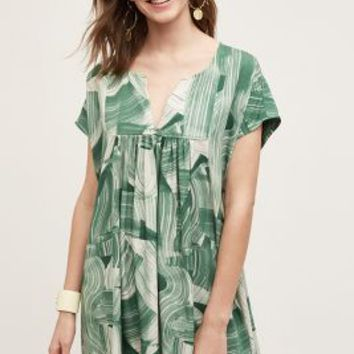 Essentiel Antwerp Brushstroke Tunic Dress in Green Size: