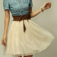 Short Sleeve Denim Chiffon Dress