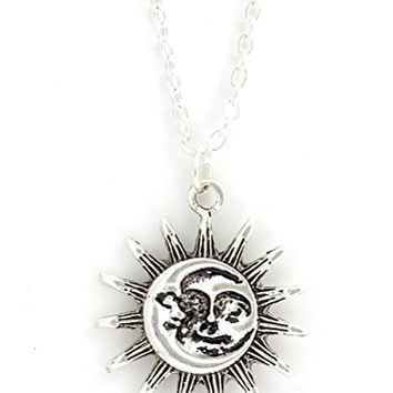 Sun and Moon Necklace Vintage Silver Tone Lunar Solar Pendant NQ05 Fashion Jewelry