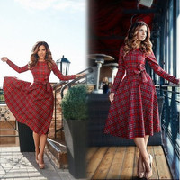 2016 New Women Casual Brief Plaid Dress Long Sleeve High Waist Midi Dress Plus Size [9324879108]