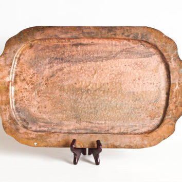 Arts and Crafts Style Hand Hammered Copper Serving Tray, Solid Copper Handmade Craftsman Mission Era Decor